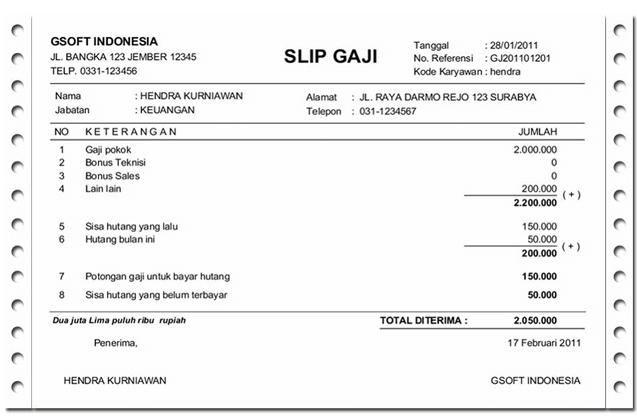 11 Contoh Slip Gaji Karyawan, PNS, Guru, Honorer Terbaru 2019