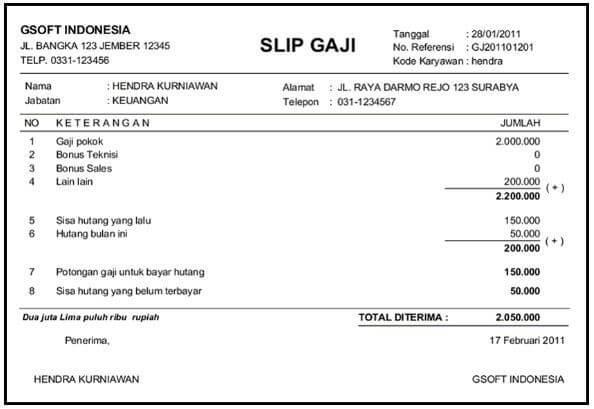 Contoh slip gaji - Bagi-in.com