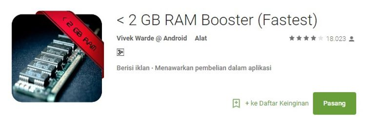 Cara Menambah RAM dengan Aplikasi <2GB RAM Booster