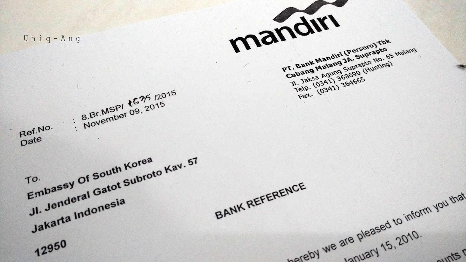 Contoh Surat Kerja untuk bank