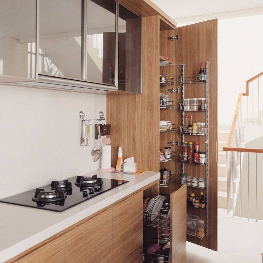 Desain Dapur Minimalis Rak Bambu